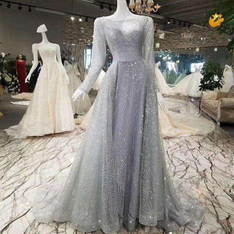 It's YiiYa O-neck Gray Luxury Bling Trailing Sex   Evening     Dresses   Handmade Illusion Full Sleeves Train Formal Party   Dress   XNE208