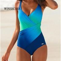 4XL Gradient Swimwear Sexy Women Beach Dress Swimsuit Large Monokini Plus Size Summer Swimmer Bikini Set