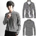 2014 New Spring Classic Black & White Stripe Mens Shirts Casual Slim Fit Long-sleeve Social Camisas Masculinas M-XXL