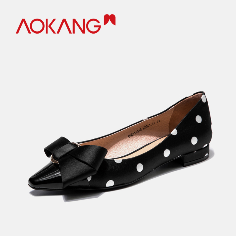 AOKANG women's flats loafers bownots dots shoes silkly ladies fashion spring summer bownot colors dress flats shoes footware - 2