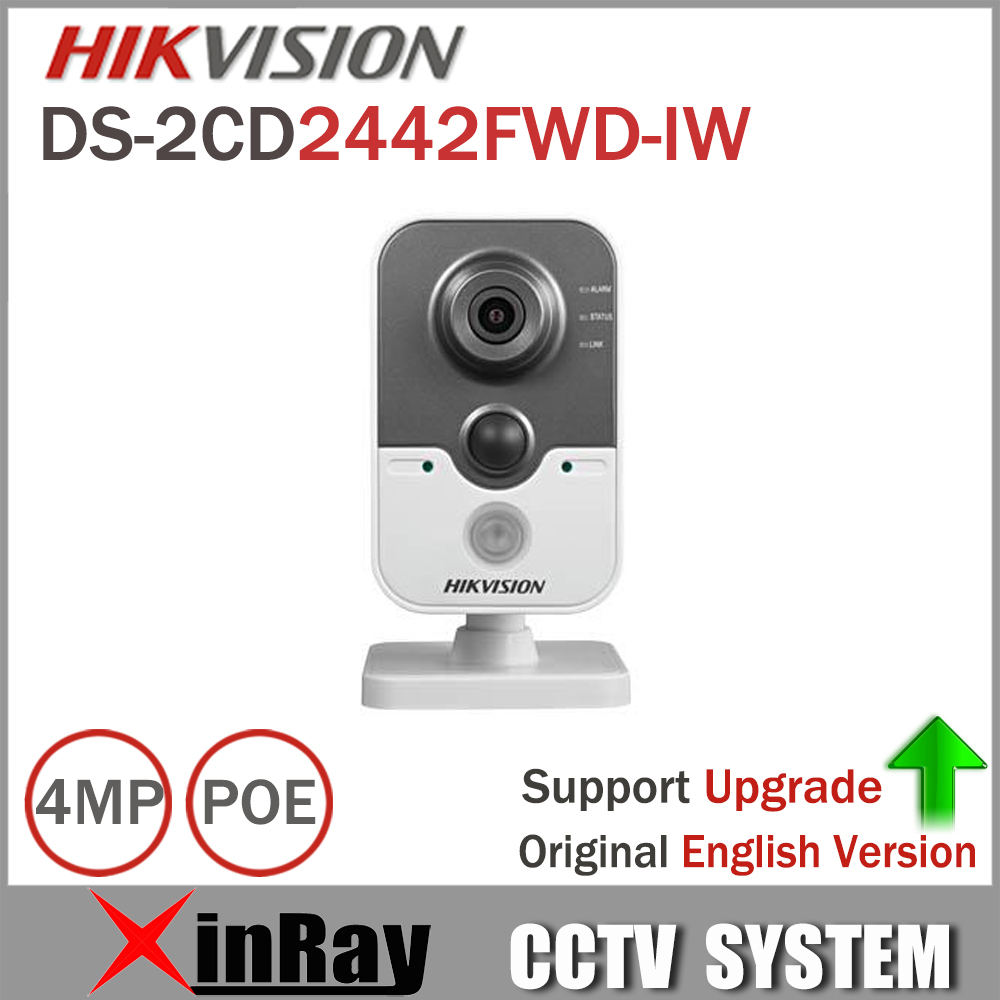Hikvision Wifi Camera DS-2CD2442FWD-IW 4MP POE Wifi IP Camera with Buit-in Micro SD card slot PIR Cube CCTV Camera autumn winter hats for women knitted beanie hat pom pom cap wool hat with real raccoon fur pompom female skullies beanie hats