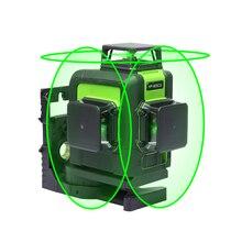 Лазерный трехмерный уровень на 12 линий, самовыравнивающийся трехмерный лазерный уровень 360 градусов, модель 903CG с зеленым лучом, мощный лазерный луч