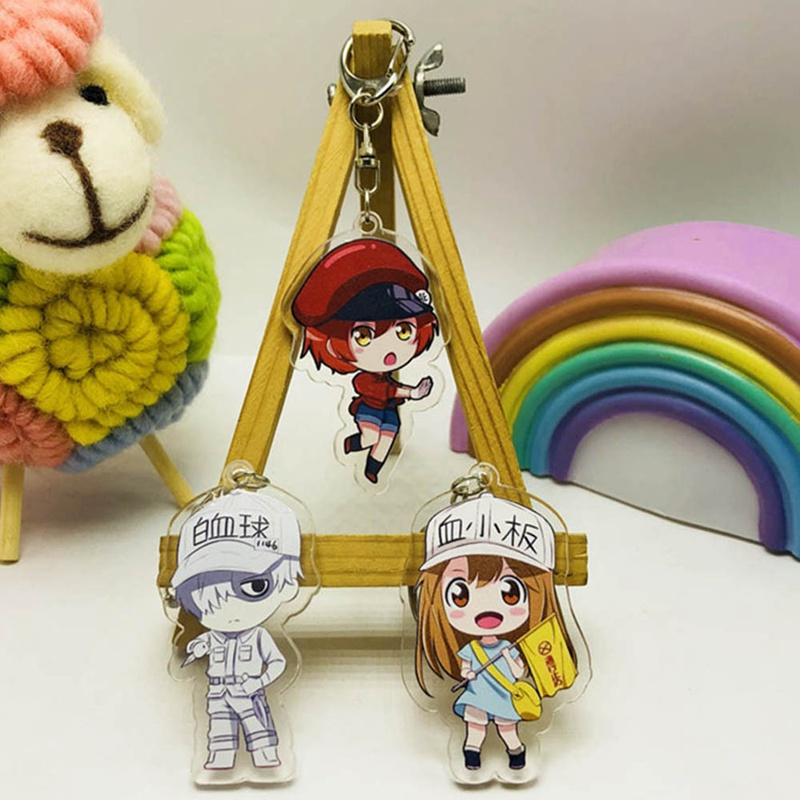 Anime Cells At Work Acrylic Toy Figure Double Side Keychain Keyring 1 Pcs