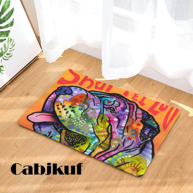 New Hot Fashion Style Color Painting Dog Print Carpets Anti Slip