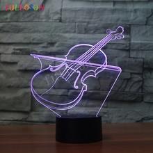 Violin 3D LED USB Lights Colorful Decorative Lamp Holiday Children as Bedroom Decoration