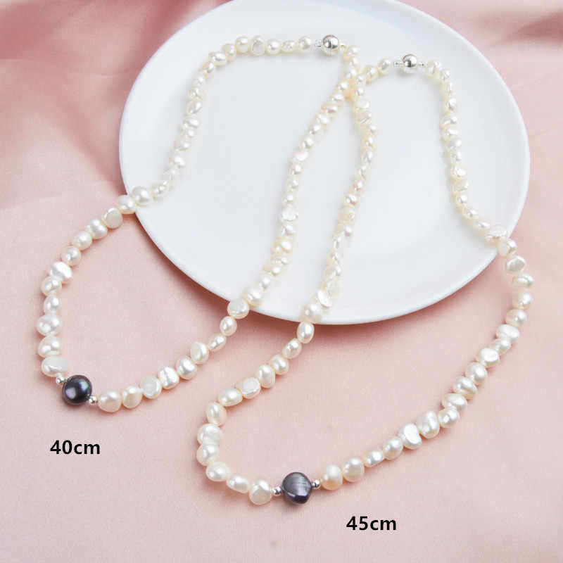 ASHIQI Real White Freshwater Pearl Necklace for Women with Pure 925 Sterling Silver Beads Handmade Jewelry Magnetic clasp