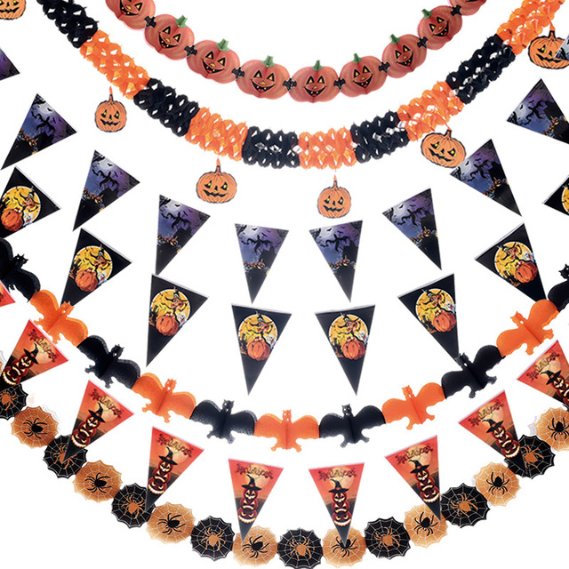 1pcs 3M Paper Chain Garland Banner Pumpkin Bat Spider Shape Flags Bunting Halloween Decor Garland Banners Outdoor Party Supplies