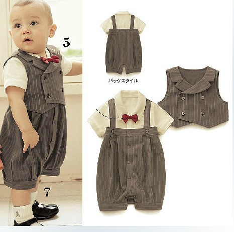 все цены на  EMS DHL Free shipping Baby Boys Toddlers Summer 2 piece set Romper + waistcoat Dark Grey Stripe Summer clothes holiday outfit  онлайн