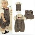 El ccsme DHL de envío libre de los bebés niños pequeños niños verano 2 unidades Romper + chaleco gris oscuro de la raya del verano ropa traje de fiesta