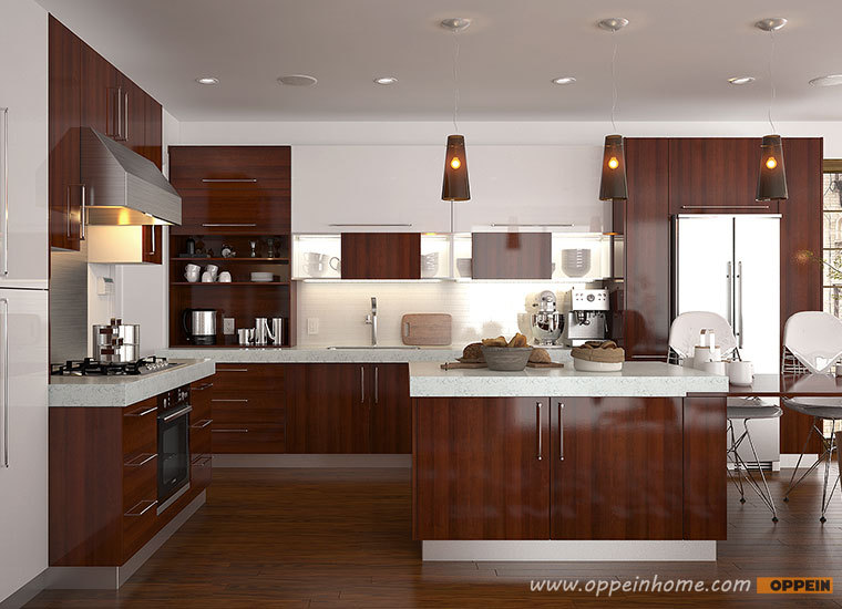 European Standard With Island Simple Design Aluminium Kitchen Cabinet Design
