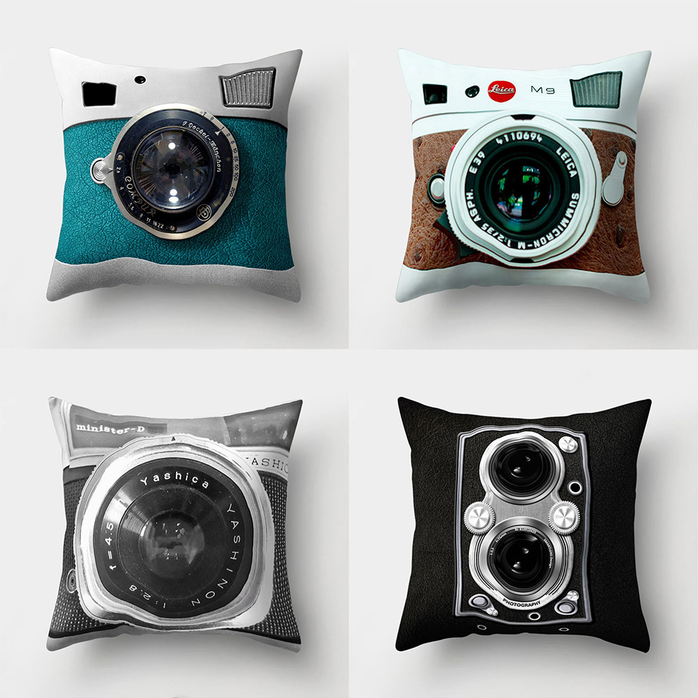 Modern Camera Print Bed Throw Pillow Case  Home Room
