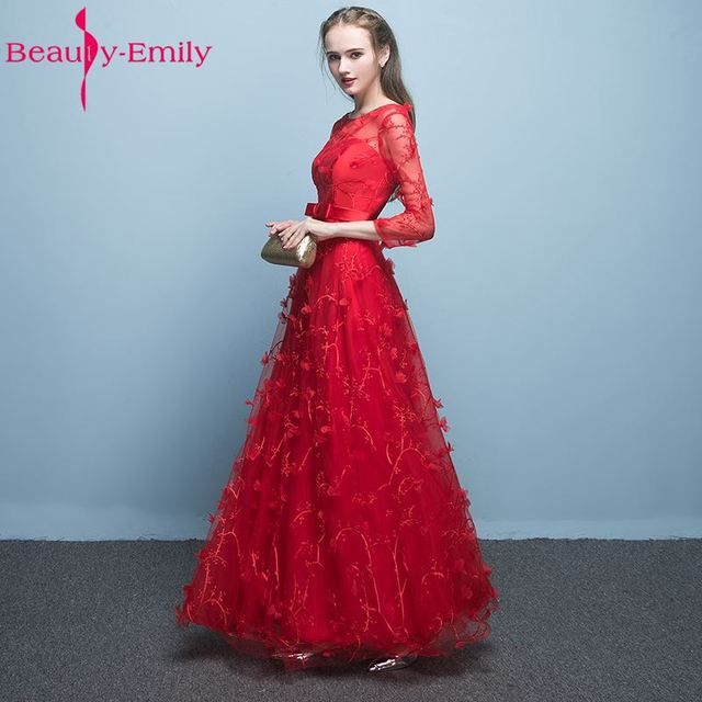 Beauty Emily Red Mother of the Bride Dress 2017 A Line Full Sleeve ...