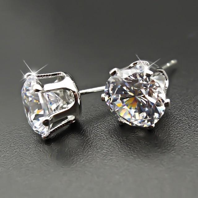 925 Sterling Sliver Stud Earrings 2 Carat  1