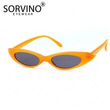 SORVINO 90s Vintage Lady Small Cat Eye Sunglasses 2018 Women Brand Designer Tiny Cateye Sun Glasses Pink Red Yellow Shades SN137