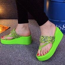 2019 новое поступление женские сандалии на толстом каблуке клинья вьетнамки леди чистый цвет летняя  Лучший!