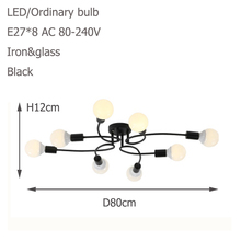 Modern 8 Light Iron Glass Ceiling Lamp