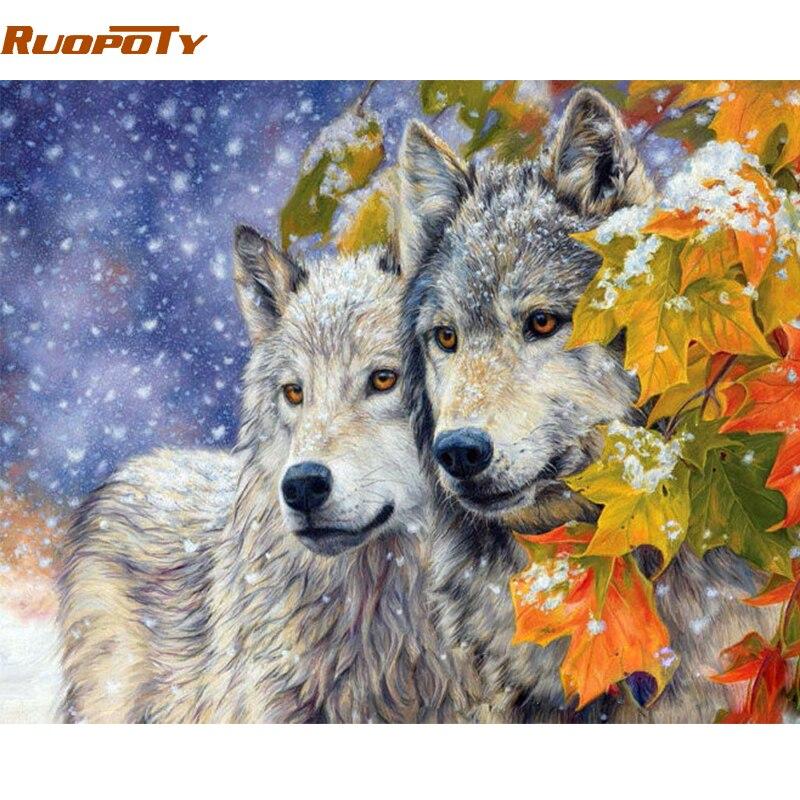 RUOPOTY Rahmen Wolf Tiere DIY Malerei Durch Anzahl Moderne Acryl Malen Auf Leinwand Malerei Einzigartige Geschenk Für Wohnkultur 40x50 cm Kunst