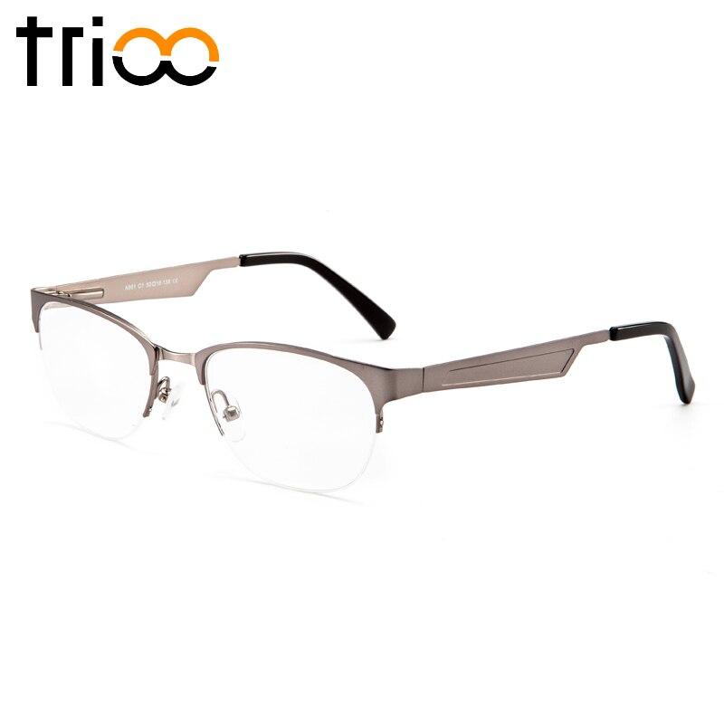 Lesen Myopie Brillen Luxus Männer c1 Brille Trioo Oculos c3 Halb Grau Business Silbrig Rezept C5 Minus Typ Rahmen Gläser BP4R4x6n