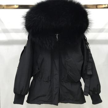 Large Real Raccoon Fur 2019 Women Winter Jacket Hooded Warm Female White Duck Down Jacket Medium Long Parkas Loose Women Coat 3