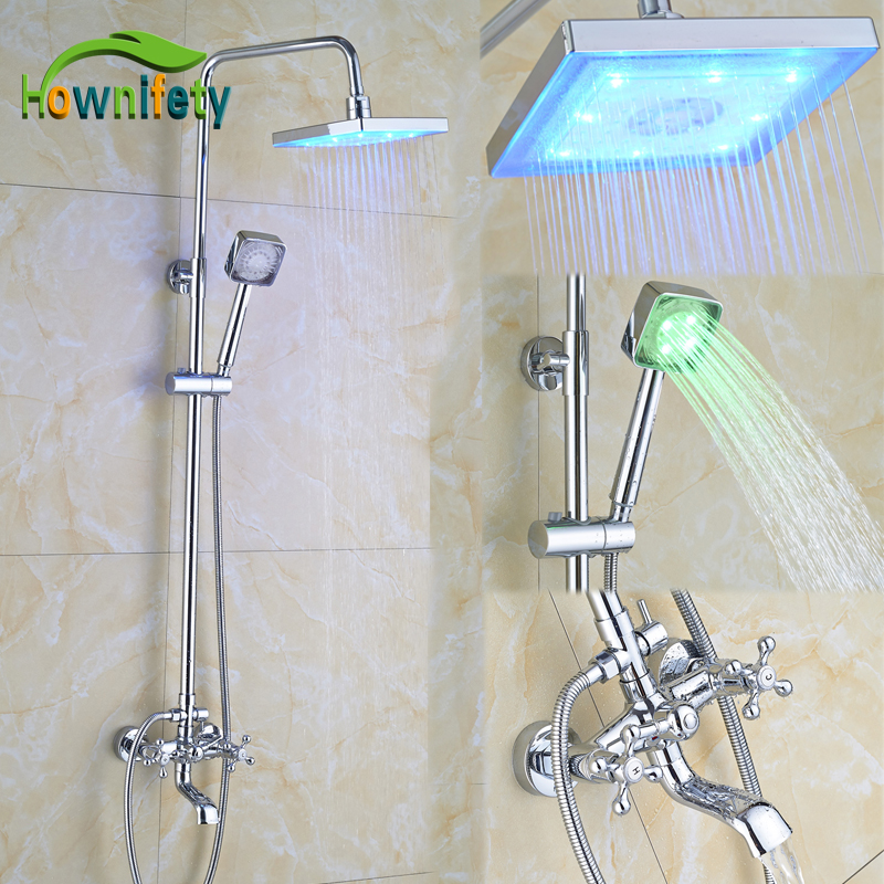 Chrome Polish Bathroom Shower Faucet 8 Inch LED Square Rainfall Shower Head with LED Hand Shower