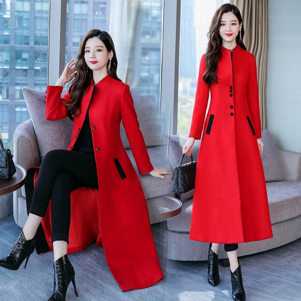2018 ligne Longues Laine Élégante Dame À Outwear Pied Manteaux red Hiver Poitrine Femme Manches De Black Contraste Unique Col Motif Longue Un Z80HwqOv