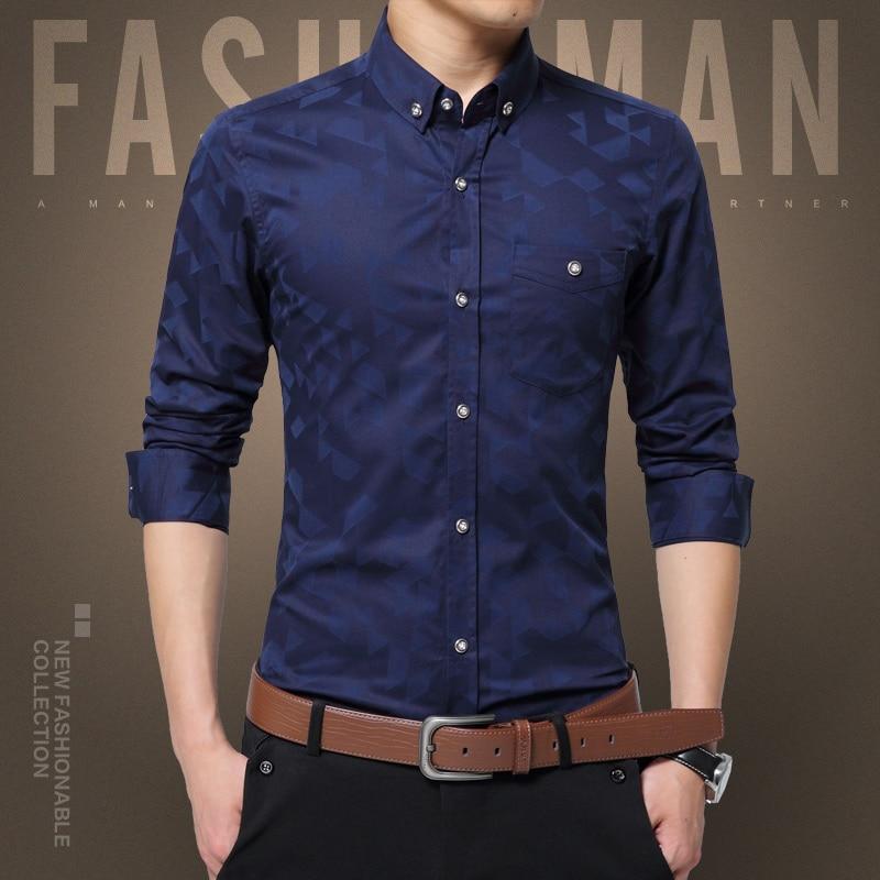 Casual Long Sleeved Printed Slim Fit Male Social Business Dress Shirt Men Dress Shirt Long Sleeve Slim Designer Solid Male Cloth