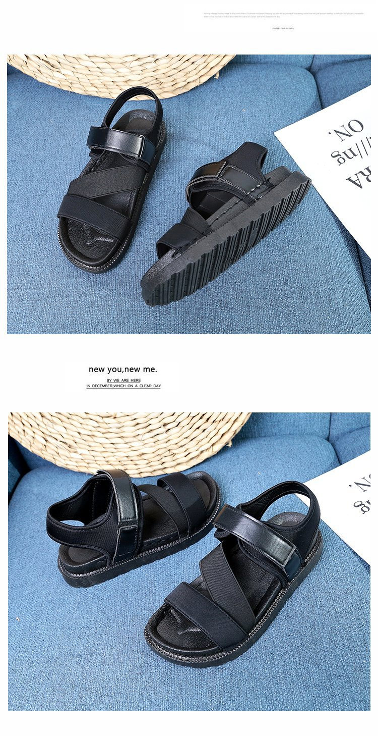 Summer Sandalias Mujer 2019 Shoes Woman Classics Gladiator Hook Loop Sandals Women Shoes Casual Flat Platform Block Heel Shoes 22