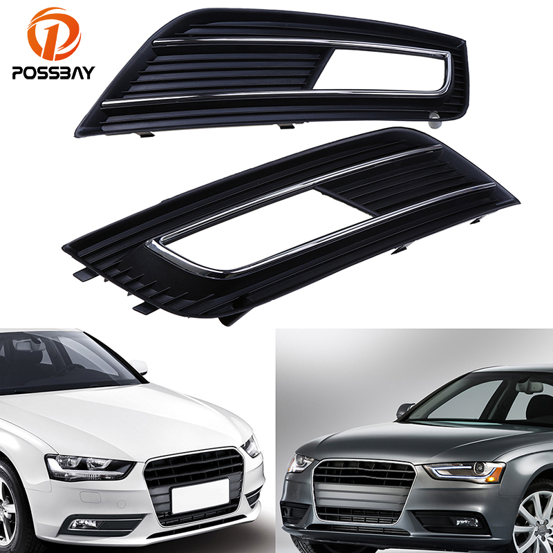 POSSBAY Front Bumper Fog Light Cover Grille for Audi A4 B8 2012 2013 2014 2015 Facelift Left/Right Auto Front for Audi A4 Grill front bumper fog lamp cover abs fog light mask cover grill grid with led light grille for audi for a6 c7 2013