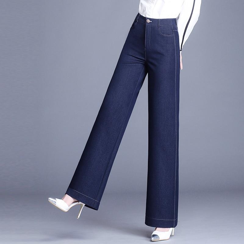 Ancha De Negro Oficina Suelta Blue Mujer Pantalones Primavera Cintura Alta Azul Mezclilla Pierna Vaqueros Casual black Dama Otoño Xq88UH