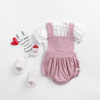 Lovely Baby Kids Puff Sleeve White Color Tees with Pink Color Rompers Outfits Ins Toddler Cute Girls Child New Fashion 2pcs Sets