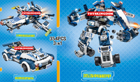 New Dragon Fury Future Police Super Robot 3in1 Building Block Policeman Figures Sports Cars Fighter Bricks