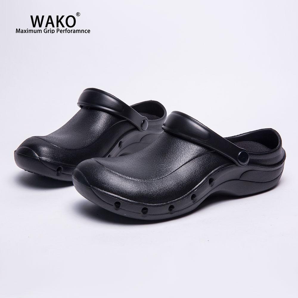 WAKO Working Chef Shoes Slip On For Men Women Non-Slip Kitchen Cook Clogs Sandals Anti Skid Restaurant Safety Work Shoes 9016