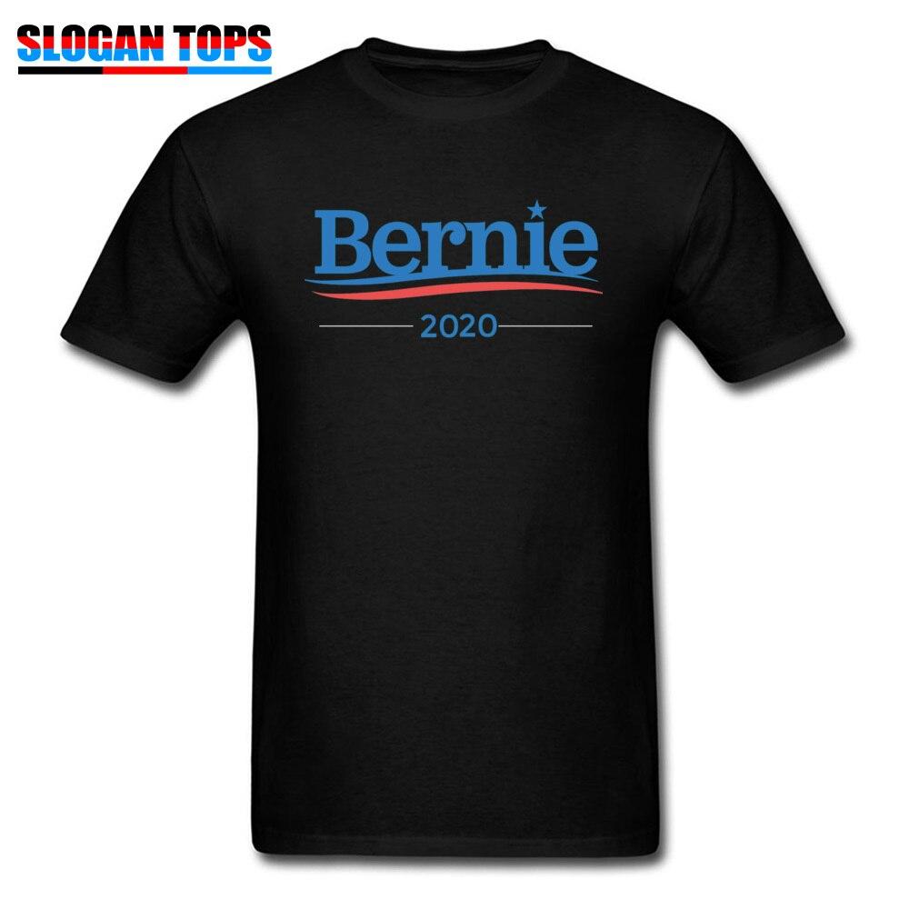 Men Letter   T  -  shirt   100% Cotton Tshirt Bernie Sanders 2020 Campaign   T     Shirt   Male Short Sleeve Summer Clothes Plus Size Black Tee