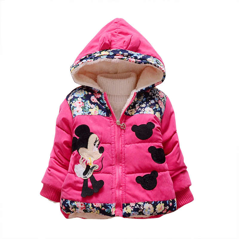 3a9baecf4 ... New Minnie Baby Girls Jacket Kids Winter Cartoon Lovely Keeping Warm  Coat Children Cotton Fashion Hooded ...