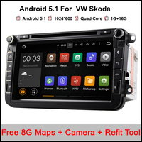 Quad Core Android 5 1 Car Dvd Player 1024 600 For VW Skoda POLO GOLF 5