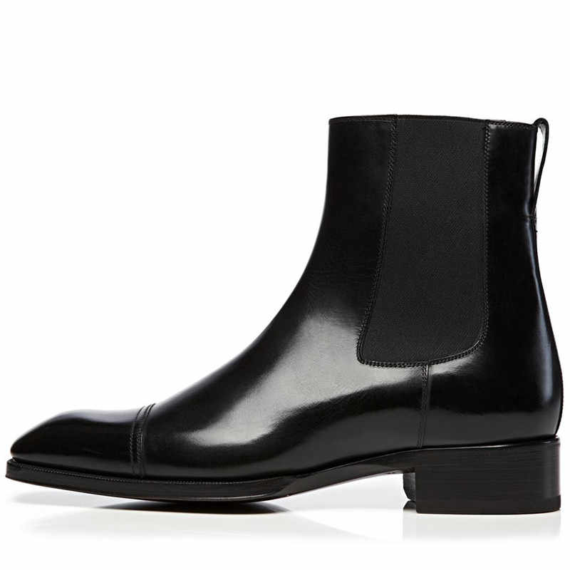 Qianruiti Newest Classic Fashion Men Leather Chelsea Boots Men Shoes Low-heeled British Vintage Style Western Street Boots