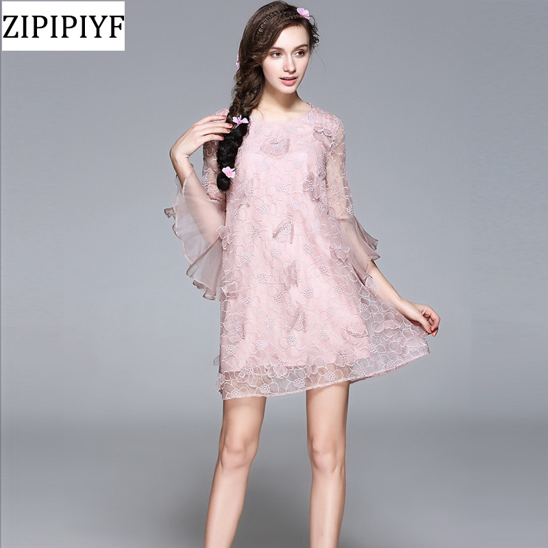 ZIPIPIYF Women Desses 2018 Spring Summer Casual Silk Dress Loose Flare Sleeve Print Vintage Party Dress Women Clothing VXR022