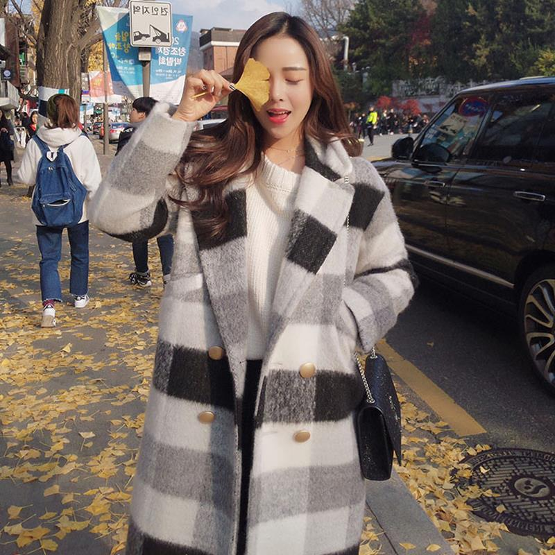 Ailegogo New Autumn Winter Cashmere Trench Jacket Women Casual Black White Plaid Coat Thickness Warm Button Pocket Jackets 6