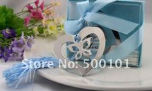 800PCS/LOT wedding favor party lovely butterfly in heart metal bookmark baby gift book mark, with pink tassel festival 19 styles