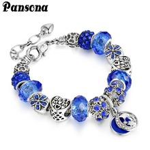 Fashion Jewelry silver European Charm Bracelets & Bangles Blue Pink Crystal for Women Original DIY Best Mom Beads Bracelet