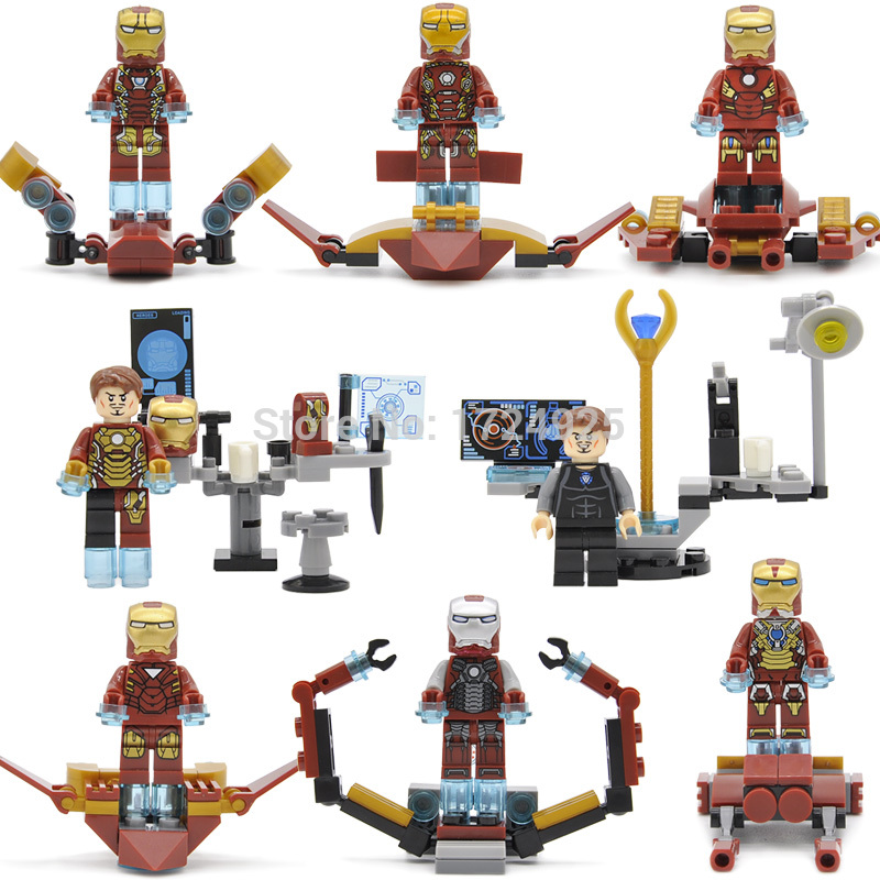 8pcs/lot Iron Man Super Hero 8in1 Ironman Figure building blocks Set Model Toys for Children SY624 8pcs lot movie super hero 2 avenger aochuang era kid baby toy figure building blocks sets model toys compatible with lego