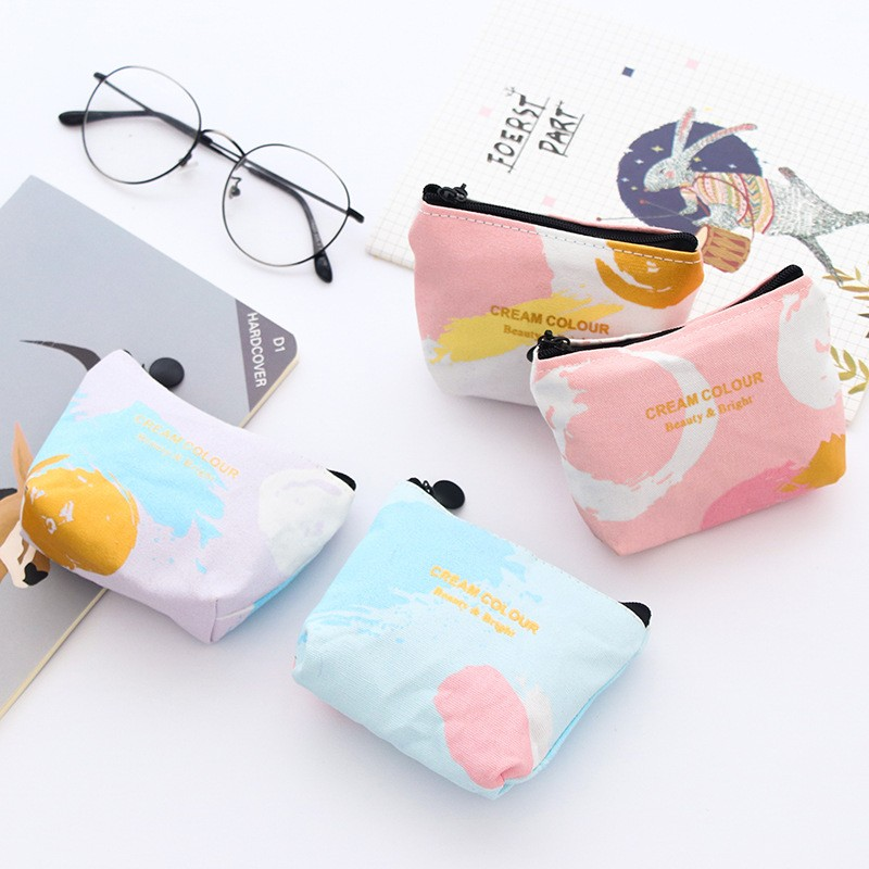 Rose Diary New fresh Cream colour cute canvas zipper bags zero wallet child girl boy purse, lady women coin wallets Pouch Case rose diary new fresh pool party cute silicone zipper bags zero wallet child girl boy purse lady women coin wallets pouch case