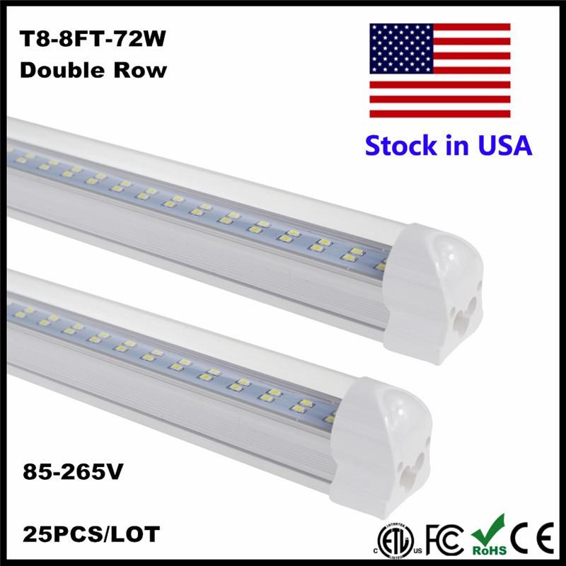 8FT LED Tube Light Super Bright 72W SMD2835 LED Bulb Cold White 6500K 2.4M 2400MM 8 FT LED Tube Lamp AC85-265V Stock In US