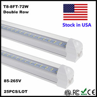 8FT LED Tube Lumière Super Lumineux 72 W SMD2835 LED Ampoule Blanc Froid 6500 K 2.4 M 2400 MM 8 PI LED Tube Lampe AC85-265V Stock En NOUS