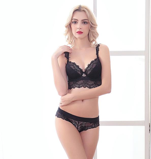 Top Quality estilo francês dupla empurrar para cima fina Lace Bra e Brief Set Ultra fino sutiã transparente calcinha Kit Underwear UB174