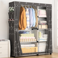 Bedroom Wardrobe Non Woven Fabric Folding Cloth Ward Storage Assembly Closet Large Size Reinforcement Combination