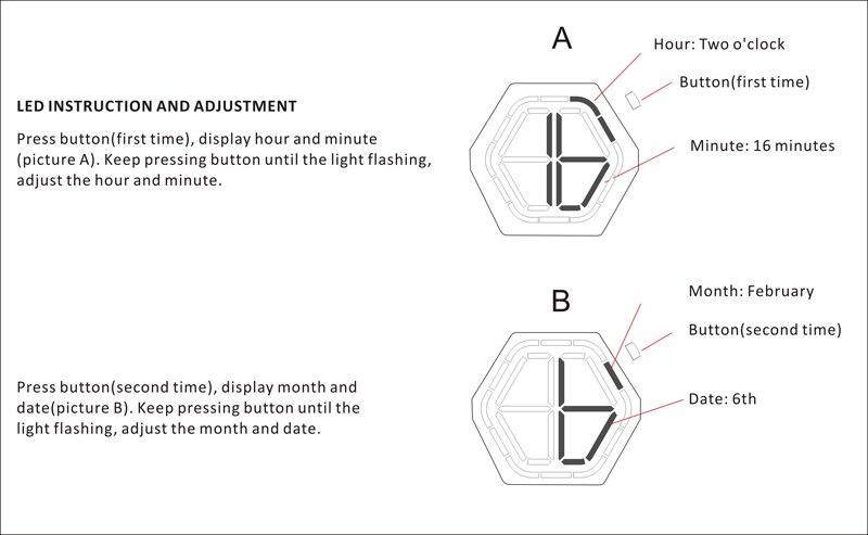 visão noturna bambu mini relógio led design