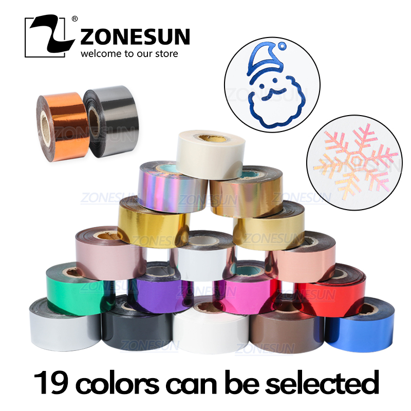 ZONESUN 3/5cm Gold Silver Red Rose Hot Stamping Foil Paper Transparent Color Width/Roll Customized Size DTY Brass Mold Foil 120m