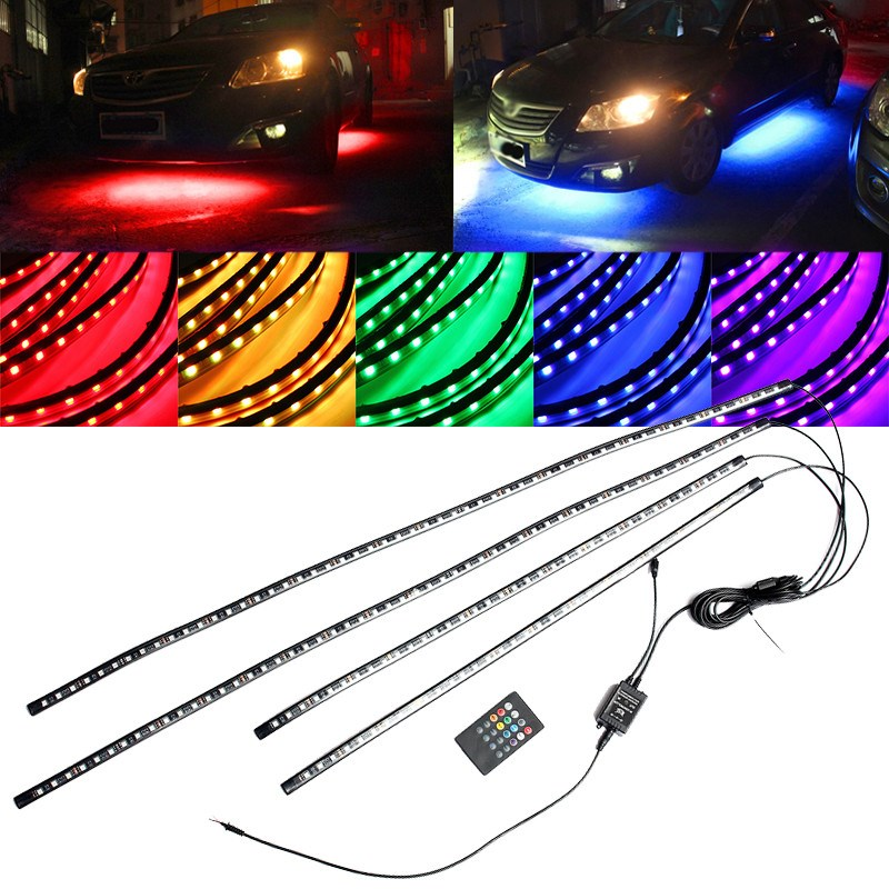 """76/"""" 8pcs Motorcycle Sound Activated Accent Glow LED Light Strips Kit For Softail"""