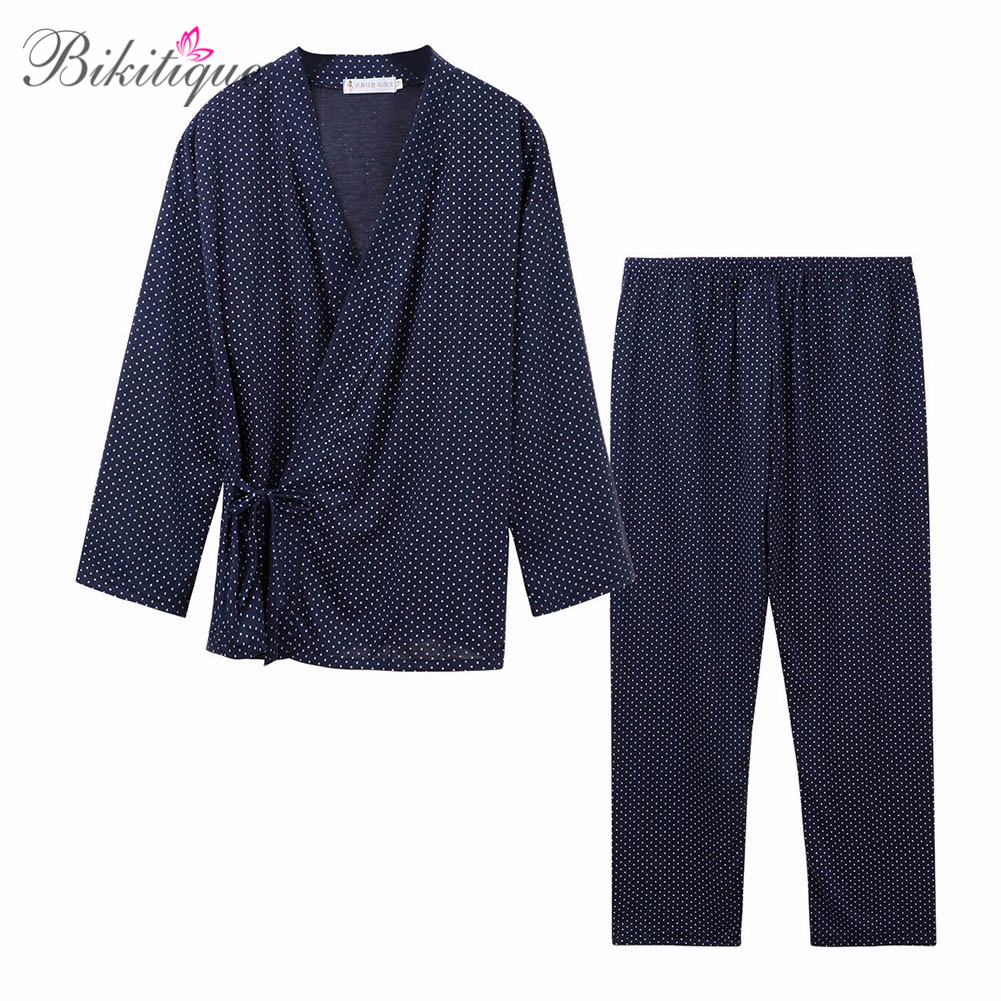 Bikitique Male Loose Pajamas Sets Autumn Cotton Polka Dot Long Sleeve Sleepwear Homewear Home Furnishing Kimono Bathrobe Suit
